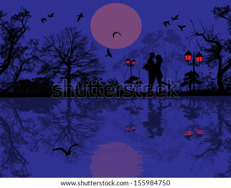 Romantic couple silhouette embrace over blue sunset on a park, vector illustration - stock vector