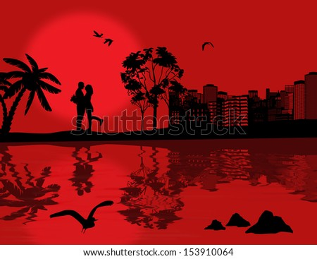 Romantic couple silhouette embrace over red sunset on cityscape with reflection on water, vector illustration - stock vector