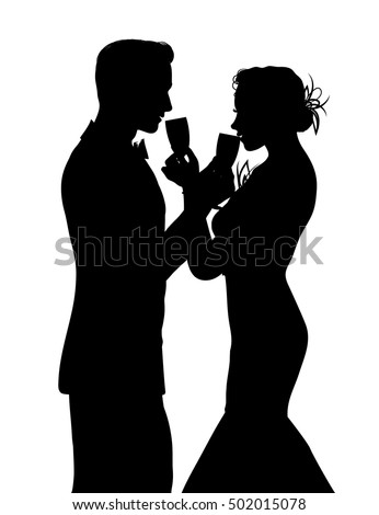 Romantic couple silhouette sharing glass of champagne isolated on white