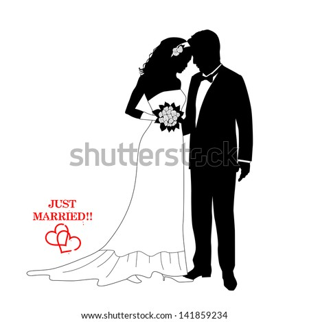 Romantic couple , silhouettes with a sign - stock vector