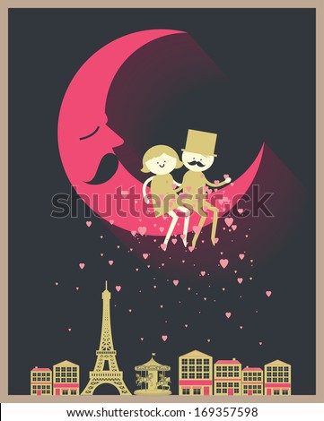 romantic couple sitting on the moon sprinkling heart Paris Eiffel tower vector/illustration - stock vector