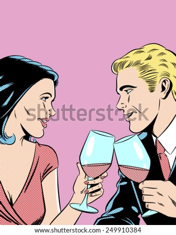 Romantic Couple Toasting - Separate dot and solid color layers - stock vector