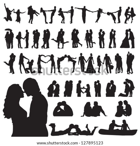 Romantic couples silhouettes