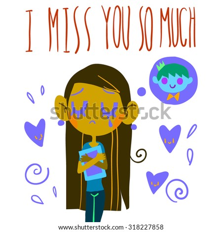 """Romantic cute """"I miss you so much"""" postcard. Vector Greeting card for Valentine's Day, wedding, games. With cute teen girl and hearts. With love. - stock vector"""