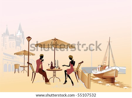 Romantic date in the street cafe - stock vector