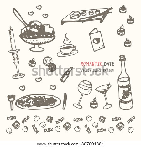 Romantic date vector objects illustration hand drawn set.