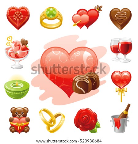 Romantic dating icon set. Valentine's day romance couple symbols. Vector illustration icons - heart, rose flower, wine drink, golden wedding ring, chocolate box, cupid arrow, lollipop, bear, isolated