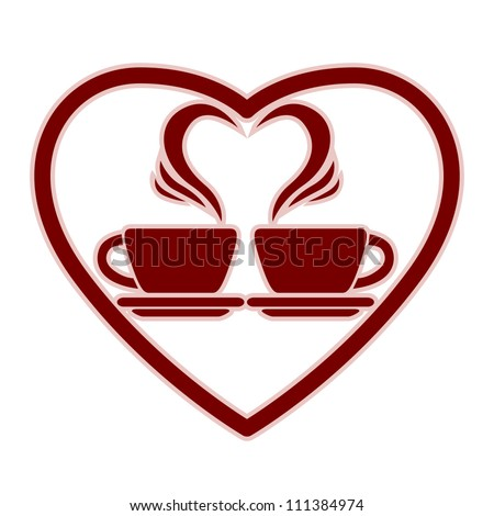 Romantic dating icon with two coffee cups and steam creates a heart, vector. - stock vector