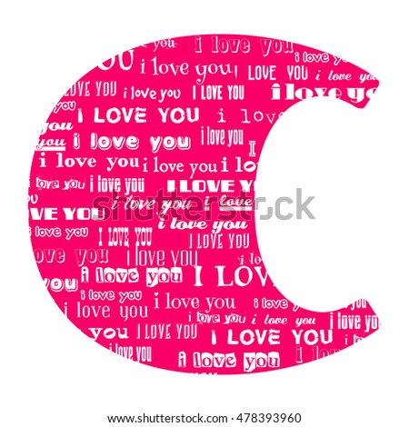 Romantic Decorative Vector Pink Letter C Filled White Words I Love You