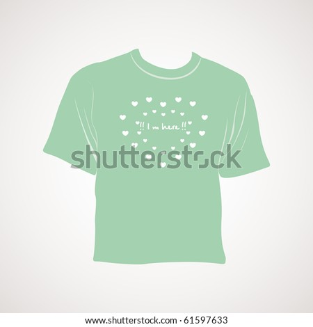 romantic design green tshirt with grey background
