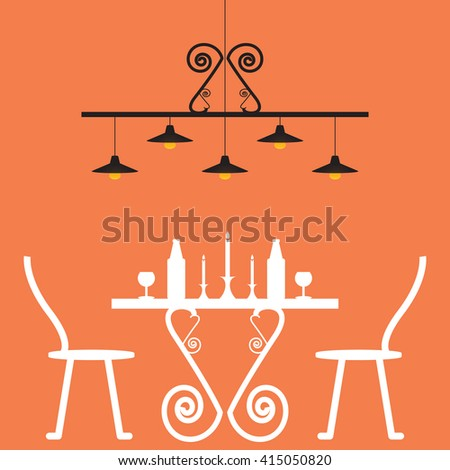 Romantic dinner for two with table and two chairs, candle, lamp,vector illustration