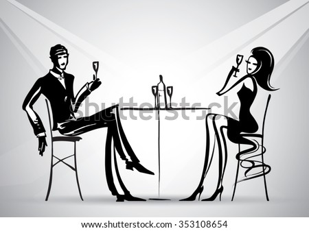Romantic dinner  lovers. Sketch drawing vector.Can be used for banners, cards, covers, etc. - stock vector
