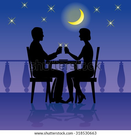 Romantic dinner of man and woman couple in the restaurant. Vector illustration. Can be used for flayers, banners, posters.