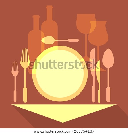Romantic dinner, table setting in a restaurant