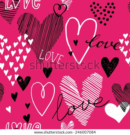 Romantic doodle hearts seamless pattern. Can be used for wedding invitation, card for Valentine's Day or card about love. - stock vector
