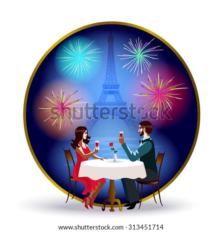 Romantic evening in Paris. A girl and a young man sitting at a table. In the background is the Eiffel Tower silhouette. - stock vector