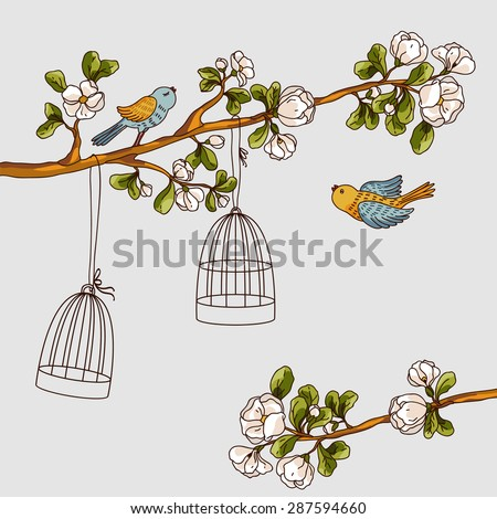 Romantic floral background. Birds out of cages. Spring birds flying on the branch - stock vector