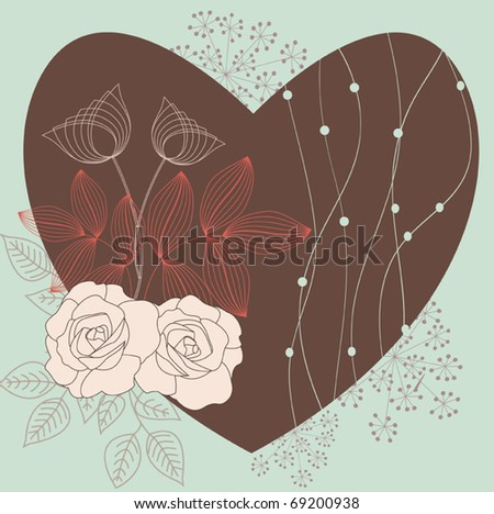 Romantic floral background for valentine's day - stock vector