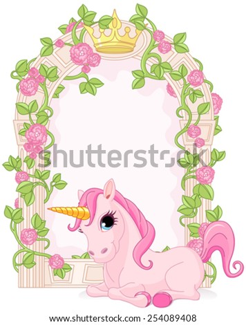 Romantic floral fairy tale frame with unicorn - stock vector