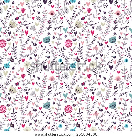 Romantic floral seamless pattern - stock vector