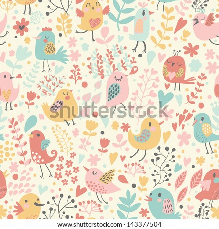 Romantic floral seamless pattern with cute small birds in flowers. Vector spring background in pastel colors - stock vector