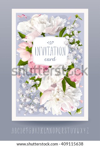 Romantic flower invitation or greeting card for weddings, Valentine's Day and other events with Peonies, leaves, Gypsophila and vintage label. Hand drawn alphabet included. - stock vector