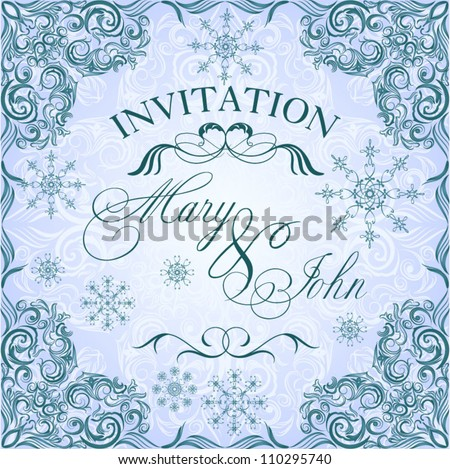 Romantic frosty vintage invitation for winter wedding - stock vector