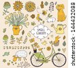 Romantic garden set with a lot of elements: bicycle, dog, plants, sheep, birds, rabbit, watering can. Summer farm card. vintage vector background. - stock vector