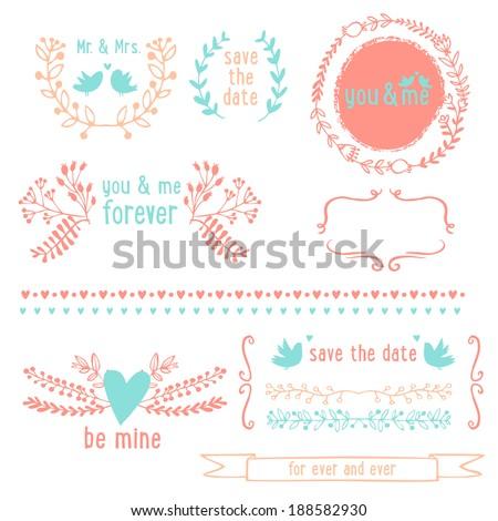 Romantic graphic elements - stock vector