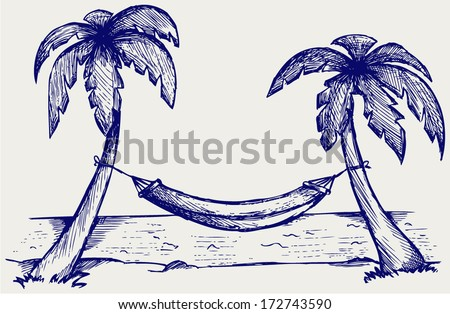 Romantic hammock between palm trees. Doodle style - stock vector