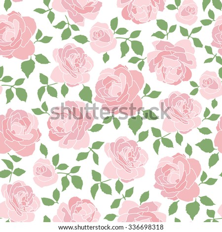 Romantic hand drawn seamless vector pattern with roses on white background