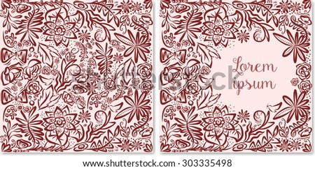 Romantic hand drawn St.Valentine's Day greeting card template. Fairy birthday, wedding, baby shower party invitation. Can be used as photo books design. Huge selection of color schemes - in portfolio. - stock vector