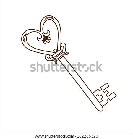 Romantic heart shaped key isolated on white. Sketch illustration - stock vector