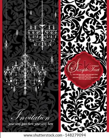 Romantic Invitation Card Design With Chandelier - stock vector