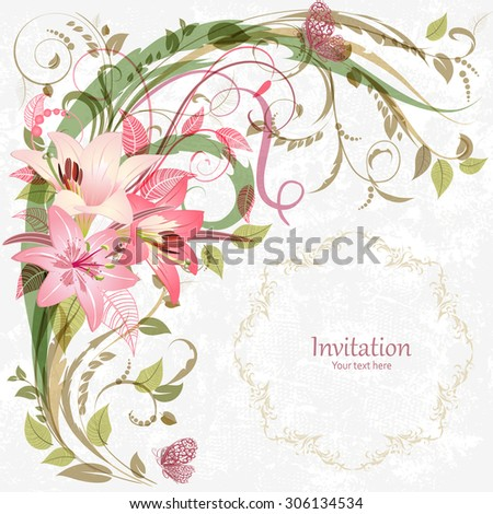 romantic invitation card with pink lily. With love for your design. - stock vector