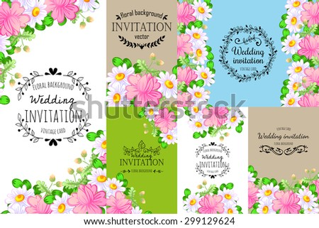 Romantic invitation. Delicate invitation card of beautiful flowers. Easy to edit. Perfect for invitations or announcements. - stock vector