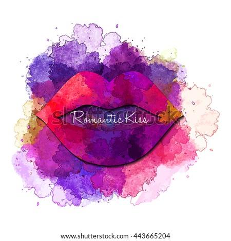 Romantic Kiss - purple vector   watercolor  blot  - stock vector