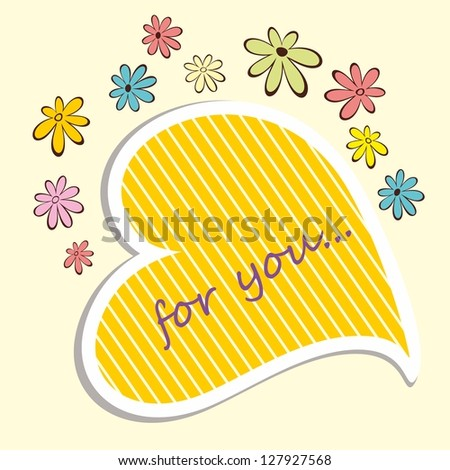 Romantic label. Floral frame. - stock vector