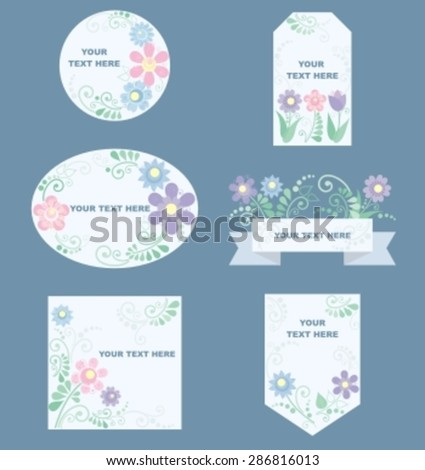 romantic labels with flower