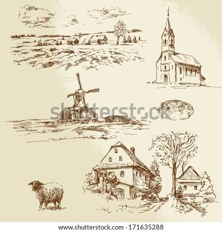 romantic landscape, farm - hand drawn illustration - stock vector