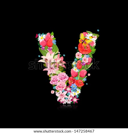 Flower letter v stock images royalty free images vectors romantic letter of beautiful flowers v altavistaventures Choice Image