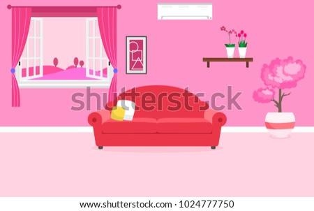 Romantic Living Room Vector Design Stock Vector (2018) 1024777750 ...