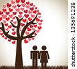 romantic love over nature background vector illustration - stock photo