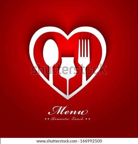 đơn ăn trưa lãng mạn thiết kế bìa giấy tim muỗng nĩa cốc và bóng tối khái niệm hiệu quả