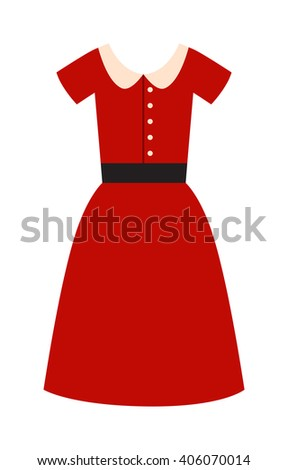 Romantic model elegance red dress fashion attractive style vector illustration. Attractive style red dress and lady sexy red dress. Woman beauty wear little red dress fashion clothes. - stock vector