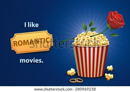 Romantic movies, vector - stock vector