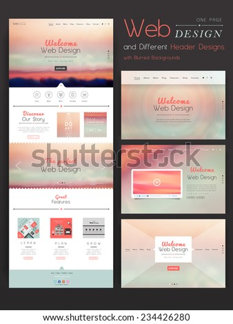 romantic one page website template design with blurred background