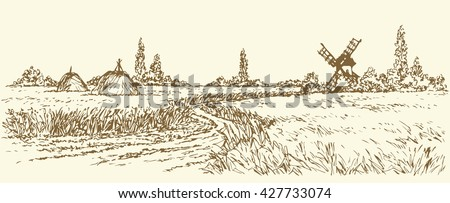 Romantic outdoor husbandry scene. Panoramic view with space for text on sky. Aged wind mill grinds grain into flour. Freehand outline ink hand drawn picture sketchy in art doodle style pen on paper - stock vector