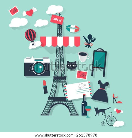 Romantic Paris tourism concept image.Vacation flat vector french icons - stock vector