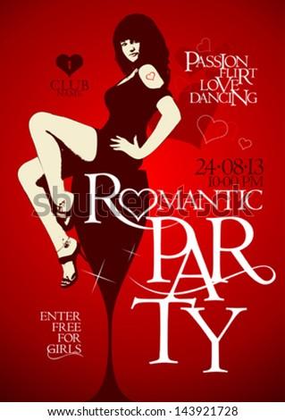 Romantic party design template - stock vector